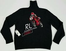 Vintage Polo Ralph Lauren 100% Cashmere Motorcycle Sweater Bear P Wing NWT