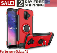 Samsung Galaxy A6 Case 2018 360-Rotating Ring Holder Kickstand Phone Cover Red