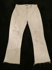 Zara Ladies White Distressed Ripped Cropped Frayed Flare Jeans Size UK 8 BNWT