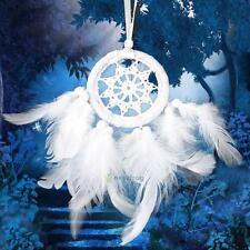 Mini Net Feather Dream Catcher Bead Hanging Decor Room Car Ornament White New
