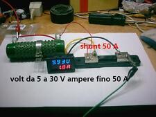 voltmetro amperometro 12, 24 volt, 50 A digitale lettura doppia  + shunt 50A