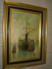 OLD ANTIQUE MARITIME OIL PAINTING