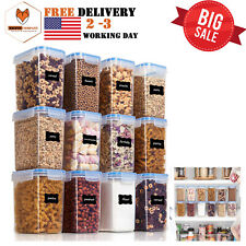 12 PIECES AIRTIGHT FOOD STORAGE CONTAINERS PLASTIC PBA FREE KITCHEN PANTRY 1.5QT