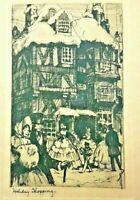 RARE VINTAGE Etching  Holmes Co Chicago Guy B. Holmes Holiday Shopping