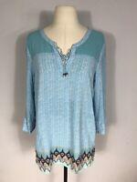 J. Jill Blue Printed Long Sleeve Tassel Neck Flowy Tunic Blouse Women's M
