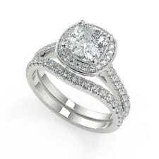 1.95 Ct Cushion Cut Halo French Pave Diamond Engagement Ring Set SI2 D 14k