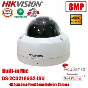 Hikvision DS-2CD2186G2-ISU 4K 8MP POE Acusense DarkFighter Dome Network Camera