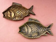 Vintage Brass Fish tray dishes / ashtrays made in england Retro