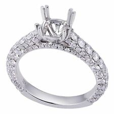18K White Gold 2.10Ct Solitaire With Accents Diamond Ring Setting (Sizable)