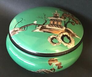 Noritake Antique Box Green Signed Oriental Art Deco
