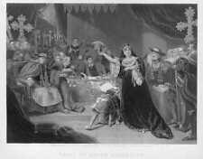 QUEEN ENGLAND KING HENRY VIII CATHERINE OF ARAGÓN ~ Antique Art Print Engraving
