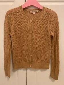 Bonpoint yellow gold knitted Girls Cardigan Age 6 years