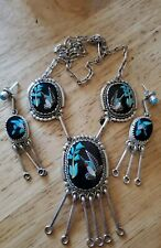 Kenny Calavaza Zuni Native American Hummingbird Necklace and Earrings Set