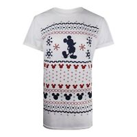 Disney - Mickey Mouse - Christmas Pattern - Ladies - T-shirt - White