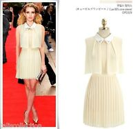 White Collar Shirt Dress with Pleated Skirt in Light Beige 3207