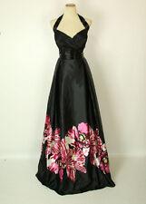 New JOVANI 14455 Authentic Black/Pink Floral Halter Evening Gown 12 Formal Dress