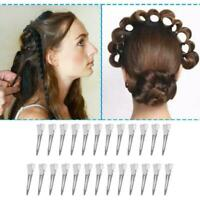 25Pcs Hairpins Ladies Women Hair Salon Silver No Bend Pin Metal Clips Curl Z2A7
