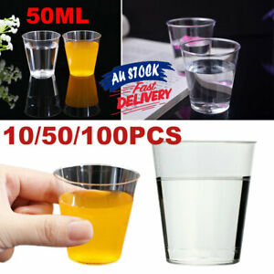 10/50/100PCS Shooter Disposable Glass Cups Party Clear Plastic Shot Hard 50ml PS