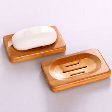 Natural Bamboo Wood Soap Dish Storage Holder Bath Shower Plate Bathroom B^^&@