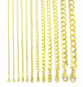"""14K Yellow Gold Solid 1.5mm-12mm Cuban Curb Chain Link Pendant Necklace 16""""- 30"""""""