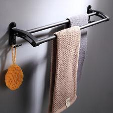 Black 60MM Stainless Steel Double Towel Rail Rack Shelf Wall Mounted Bathroom