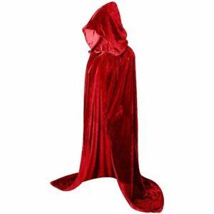 Halloween Hooded Velvet Cloak Robe Medieval Witchcraft Cape Robe Costume Unisex