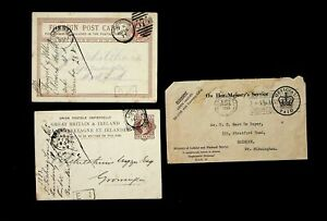GB 1877-83 ONE PENNY QV 2 PS CARDS TO NETHERLANDS+ 1955 OFFICIAL PAID OHMS COVER