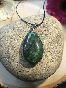 Ruby In Zoisite Necklace Pendant genuine natural Crystal AUS SELLER