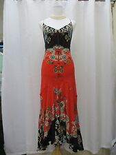 Authentic Roberto Cavalli Floral Long Dress New Italy M 100% Silk Dress