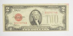 Crisp 1928-D Red Seal $2 United States Note - Better Grade *962