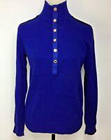 Ralph Lauren Women Sweater Cotton Mock Turtleneck Button Blue Black Trim Size M