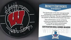 """BECKETT CHRIS CHELIOS SIGNED """"1983 CHAMPS"""" UNIVERSITY OF WISCONSIN GAME PUCK 266"""