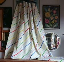 Vintage PAIR OF CURTAINS white stripey 1980s fabric lined old 109cm d x 163cm w