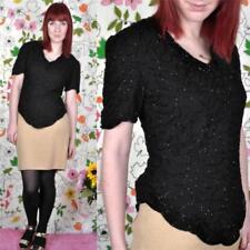 Hauts et chemises vintage noir en polyester pour femme