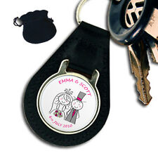 PERSONALISED WEDDING LEATHER KEYRING / KEYFOB  PINK LETTERING GIFT
