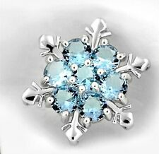 Chic Frozen Snowflake Flower Blue Crystal Silver Plated Necklace XMAS Pendant