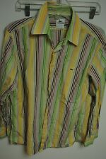 Lacoste Shirt Button-Front Stripes Cotton $149 40 S Small W3