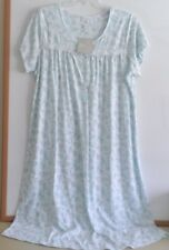 NWT ARIA LONG NIGHTGOWN-SIZE 2X-SHORT SLEEVE-WHITE/AQUA BLUE-$60-BEAUTIFUL&SOFT