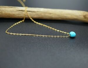 Tiny Turquoise Gold-Filled Chain Choker Necklace 18'' Adjustable Length Woman