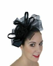 BLACK FASCINATOR BOWS HAT FLOWER FEATHERS RACES WEDDING MELBOURNE CUP DERBY DAY