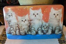 BRITISH TOFFEE TIN-Thornes of England-Cute Kittens in a Row-Gray/Red/Blue Hues