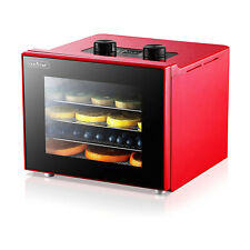 NutriChef 350 Watts Multi Tier Dehydrator Machine with 4 Trays, Red (Open Box)