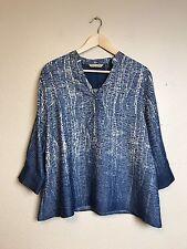 Soft Surroundings Women's Tunic Blouse Ombré Blue Polka Dot Size Large M38