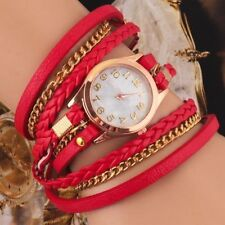 Womens Multilayer Faux Leather Bracelet Quartz Watch RED - PRICE REDUCED