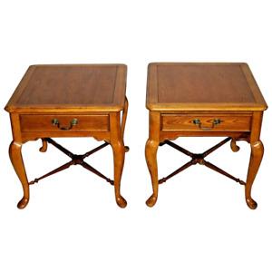 Vintage Bernhardt furniture Nightstands Side Tables Matching set drawer Oak