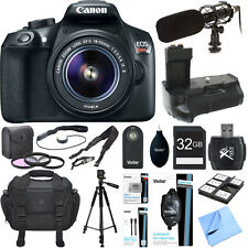 Canon Rebel EOS T6 Wi-Fi Digital SLR HD Camera EF-S 18-55mm Lens Grip Mic 32gb