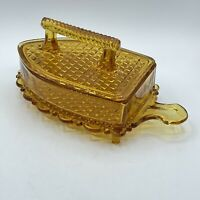 Vintage Imperial Glass Co Amber Flat Iron Lidded Footed Candy Trinket Dish