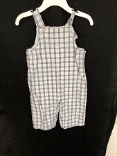 Janie and Jack Boys 3-6 Months Plaid Overalls EUC