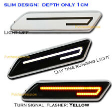 Universal WHITE Side marker LED TUBE FENDER VENT TURN SIGNAL LIGHT Dual Color