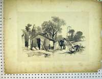 Original Old Antique Print C1810 Drawing Village Scene Tower Street Garage 19th